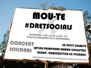 PANCARTA Concert Solidari MOUTE pels DRETSOCIALS
