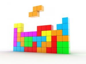 Il·lustració de cubs de color diferent, per al joc en un tetris